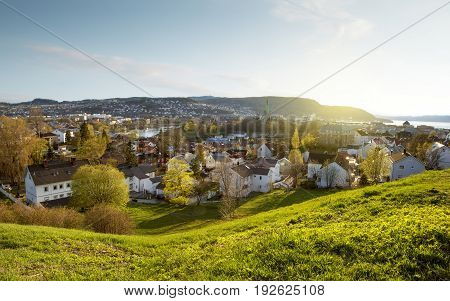 Panorama of Trondheim town in western Norway