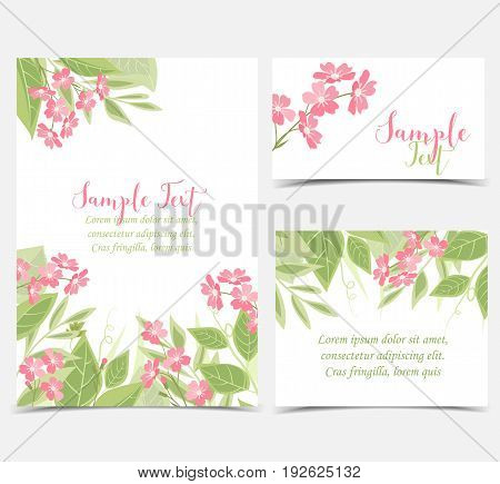 Vector illustration of flower and leaves. Backgrounds with pink flowers. Set of greeting cards