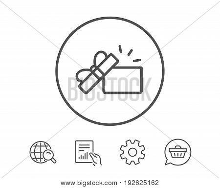 Opened Gift box line icon. Present or Sale sign. Birthday Shopping symbol. Package in Gift Wrap. Hold Report, Service and Global search line signs. Shopping cart icon. Editable stroke. Vector