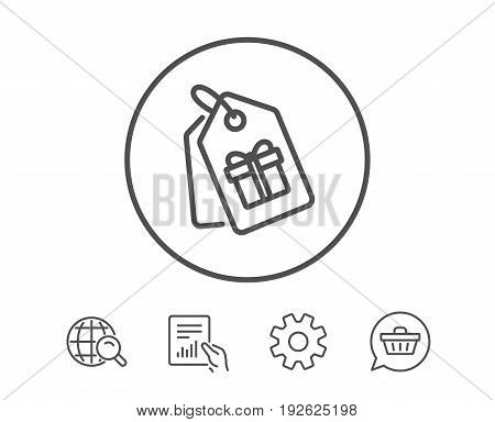 Coupons with Gifts line icon. Present box or Sale sign. Birthday Shopping symbol. Package in Gift Wrap. Hold Report, Service and Global search line signs. Shopping cart icon. Editable stroke. Vector