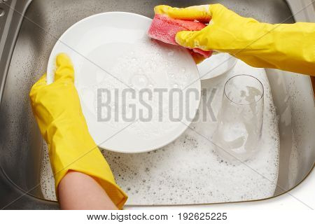 Hands In Gloves Washing White Plate With Pink Cleaning Sponge
