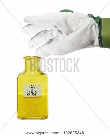A hand with a glove grips a small glass bottle with toxic contents.