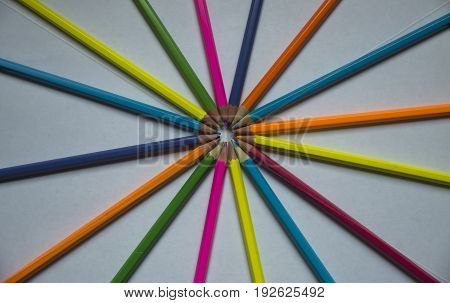 Multicolored pencils are lined on a white sheet of paper with slips in the center.