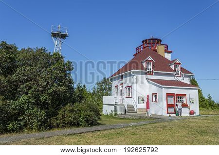 Exterior of Cabot Head Lighthouse located on the Bruce Pininsula in Tobermory Ontario Canada.