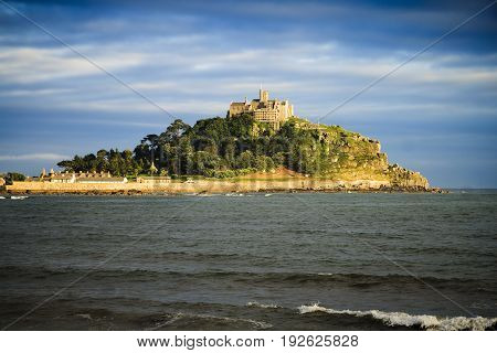 St Michaels Mount in golden early evening sunlight