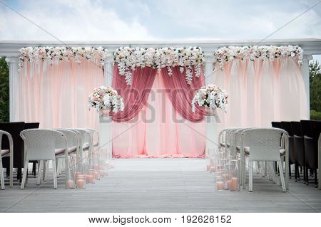 Wedding arch of real flowers. Floral design. Wedding decoration. Vector illustration detail isolated on white background.