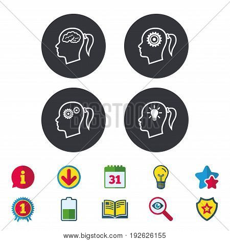 Head with brain and idea lamp bulb icons. Female woman think symbols. Cogwheel gears signs. Calendar, Information and Download signs. Stars, Award and Book icons. Light bulb, Shield and Search. Vector