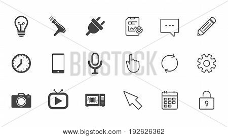 Home appliances, device icons. Electronics signs. Lamp, electrical plug and photo camera symbols. Chat, Report and Calendar line signs. Service, Pencil and Locker icons. Click, Rotation and Cursor