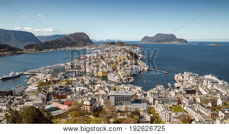 Aerial panorama of Alesund city in Norway