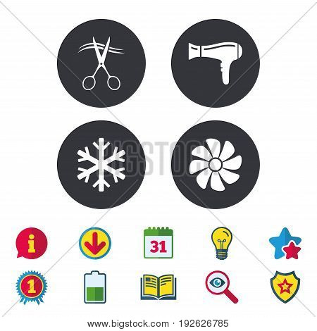 Hotel services icons. Air conditioning, Hairdryer and Ventilation in room signs. Climate control. Hairdresser or barbershop symbol. Calendar, Information and Download signs. Vector