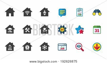 Real estate icons. Home insurance, maternity hospital and wifi internet signs. Restaurant, service and air conditioning symbols. Calendar, Report and Download signs. Stars, Service and Search icons