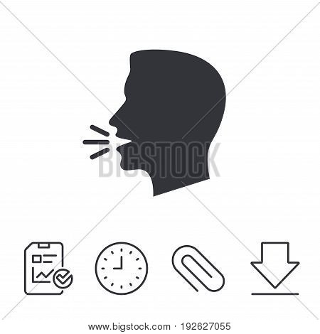 Talk or speak icon. Loud noise symbol. Human talking sign. Report, Time and Download line signs. Paper Clip linear icon. Vector