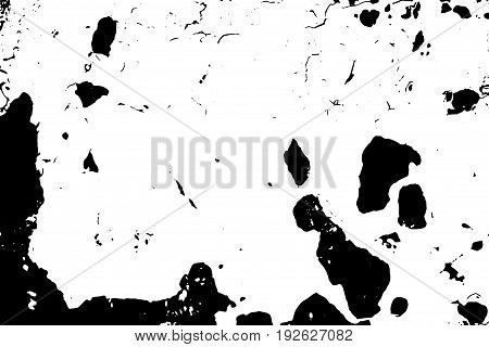 Old painted vector texture in black and white palette. Distressed texture with dust and noise. Weathered metal surface. Aged and scratched texture. Monochrome overlay for vintage effect. Grit trace