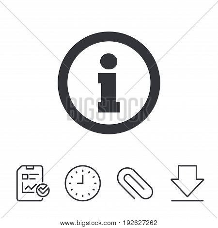 Information sign icon. Info symbol. Report, Time and Download line signs. Paper Clip linear icon. Vector