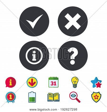 Information icons. Delete and question FAQ mark signs. Approved check mark symbol. Calendar, Information and Download signs. Stars, Award and Book icons. Light bulb, Shield and Search. Vector