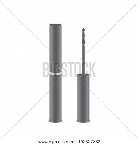 Open and closed realistic mascara for eyelashes on a white background. Vector illustration.