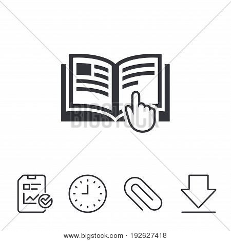 Instruction sign icon. Manual book symbol. Read before use. Report, Time and Download line signs. Paper Clip linear icon. Vector