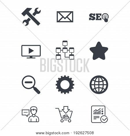 Internet, seo icons. Repair, database and star signs. Mail, settings and monitoring symbols. Customer service, Shopping cart and Report line signs. Online shopping and Statistics. Vector