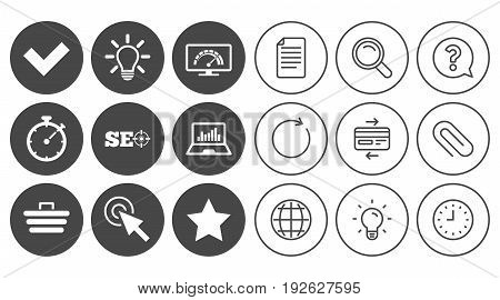 Internet, seo icons. Bandwidth speed, online shopping and tick signs. Favorite star, notebook chart symbols. Document, Globe and Clock line signs. Lamp, Magnifier and Paper clip icons. Vector