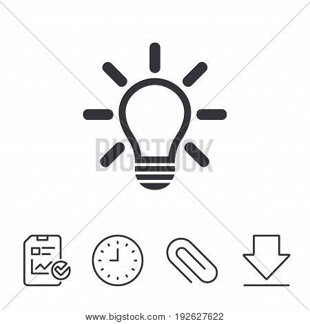 Light lamp sign icon. Idea symbol. Light is on. Report, Time and Download line signs. Paper Clip linear icon. Vector
