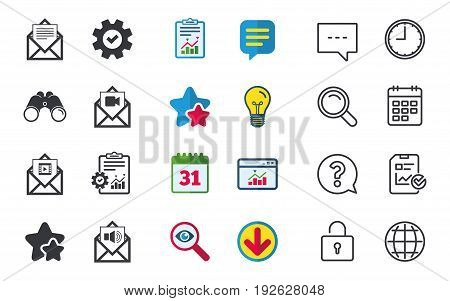 Mail envelope icons. Message document symbols. Video and Audio voice message signs. Chat, Report and Calendar signs. Stars, Statistics and Download icons. Question, Clock and Globe. Vector