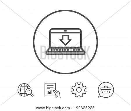 Download line icon. Internet Downloading with Laptop sign. Load file symbol. Hold Report, Service and Global search line signs. Shopping cart icon. Editable stroke. Vector