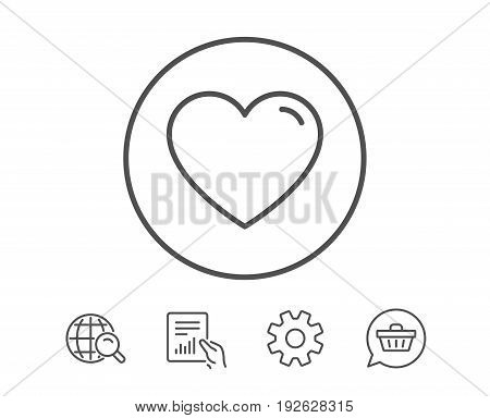 Heart line icon. Love sign. Valentines Day sign symbol. Hold Report, Service and Global search line signs. Shopping cart icon. Editable stroke. Vector