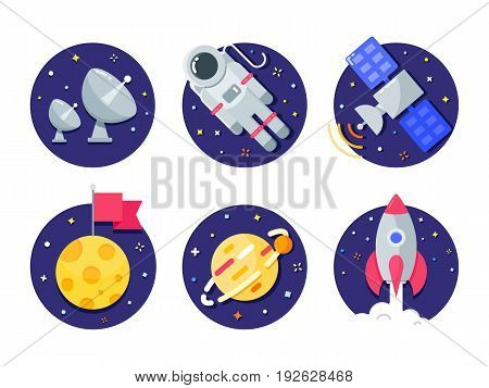Space and Universe color vector icons set