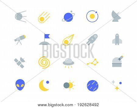 Space color icons set simple flat style