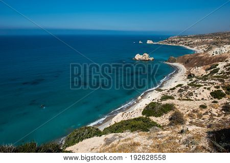 Petra Tou Roumiou, Aphrodite's Rock. Rocky Coastline On The Mediterranean Sea In Cyprus.