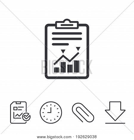 Project management icon. Report document symbol. Accounting file with charts symbol. Report, Time and Download line signs. Paper Clip linear icon. Vector