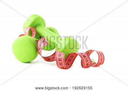 Green Dumbbells With Tape Measure Isolated On White