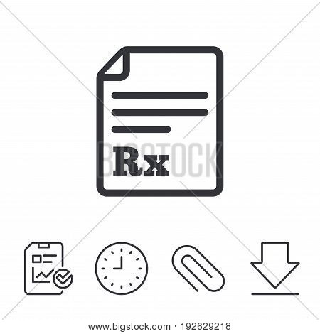 Medical prescription Rx sign icon. Pharmacy or medicine symbol. Report, Time and Download line signs. Paper Clip linear icon. Vector