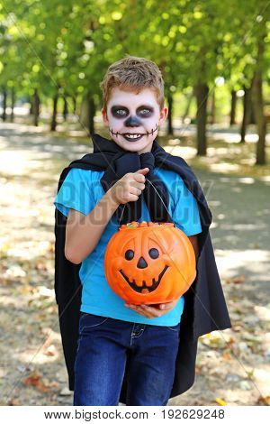 Little Boy In Halloween Costume With Basket For Candies In The Park, Outdoor