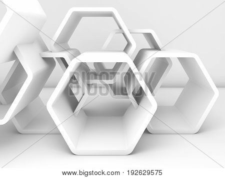 Abstract Chaotic White Honeycombs. 3D
