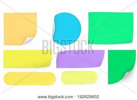 post sticky colored papers vector office notes memo paper sheets with curved age