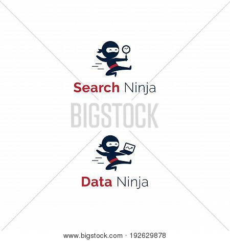 Ninja mascot logo set. Jumping ninja with magnifier and laptop vector characters