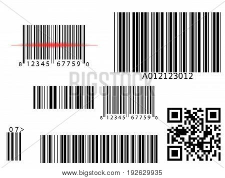 Bar qr code scanning vector digital code scan vector