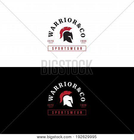 Vector badge with helmet. Sportswear logo. Vector warrior head label