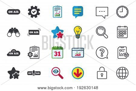 On air icons. Live stream signs. Microphone symbol. Chat, Report and Calendar signs. Stars, Statistics and Download icons. Question, Clock and Globe. Vector