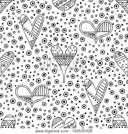 Vector hand drawn seamless pattern, decorative stylized black and white childish hearts. Doodle sketch style, graphic illustration, background. Ornamental cute hand drawing. Line drawing.