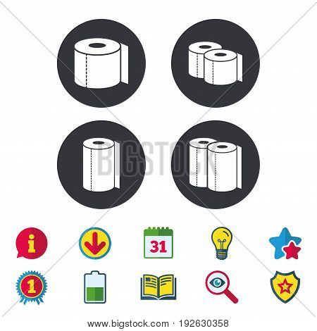 Toilet paper icons. Kitchen roll towel symbols. WC paper signs. Calendar, Information and Download signs. Stars, Award and Book icons. Light bulb, Shield and Search. Vector