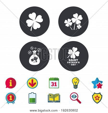 Saint Patrick day icons. Money bag with clovers and coins sign. Symbol of good luck. Calendar, Information and Download signs. Stars, Award and Book icons. Light bulb, Shield and Search. Vector