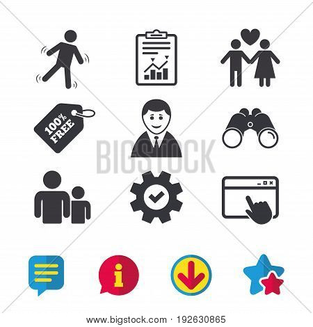 Businessman person icon. Group of people symbol. Man love Woman or Lovers sign. Caution slippery. Browser window, Report and Service signs. Binoculars, Information and Download icons. Stars and Chat