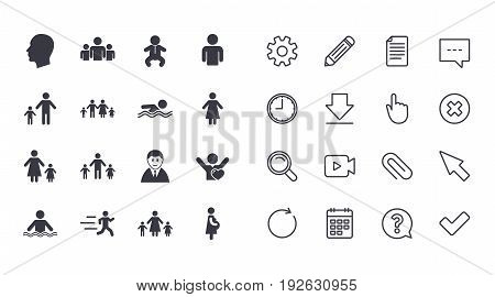 Set of People and Family icons. Swimming pool, Love and Children signs. Mother, Father and Pregnant woman symbols. Calendar, Document and Download line signs. Pencil, Service and Search icons. Vector