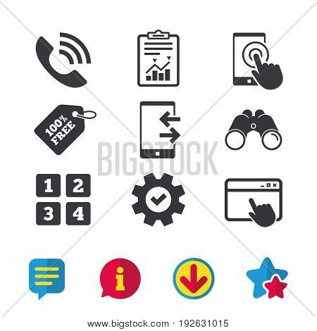 Phone icons. Touch screen smartphone sign. Call center support symbol. Cellphone keyboard symbol. Incoming and outcoming calls. Browser window, Report and Service signs. Vector