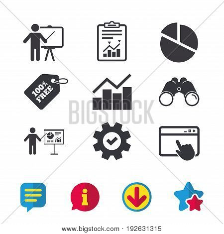 Diagram graph Pie chart icon. Presentation billboard symbol. Man standing with pointer sign. Browser window, Report and Service signs. Binoculars, Information and Download icons. Stars and Chat