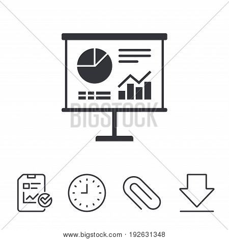 Presentation billboard sign icon. Scheme and Diagram symbol. Report, Time and Download line signs. Paper Clip linear icon. Vector