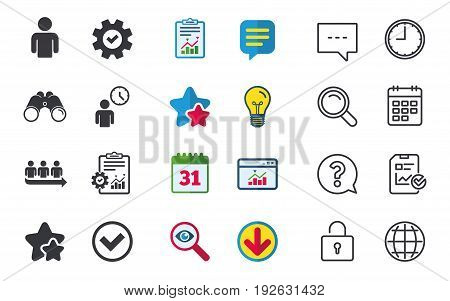 Queue icon. Person waiting sign. Check or Tick and time clock symbols. Chat, Report and Calendar signs. Stars, Statistics and Download icons. Question, Clock and Globe. Vector