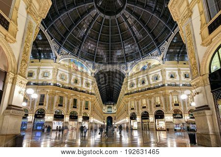 MILAN, ITALY - MAY 15, 2017: The Galleria Vittorio Emanuele II on the Piazza del Duomo in central Milan at night. This gallery is one of the world's oldest shopping malls.